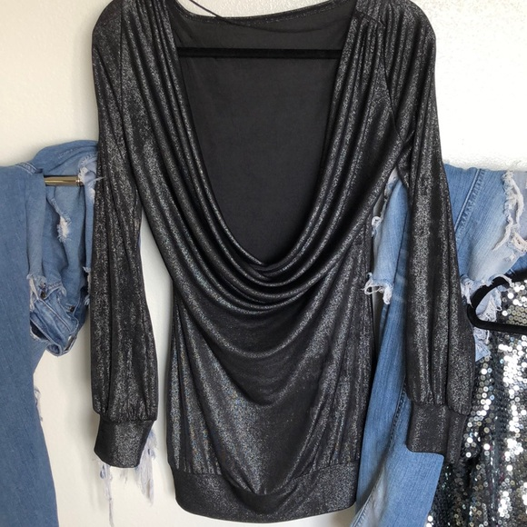 Tops - Dramatic Open Back Charcoal Sparkle Tunic